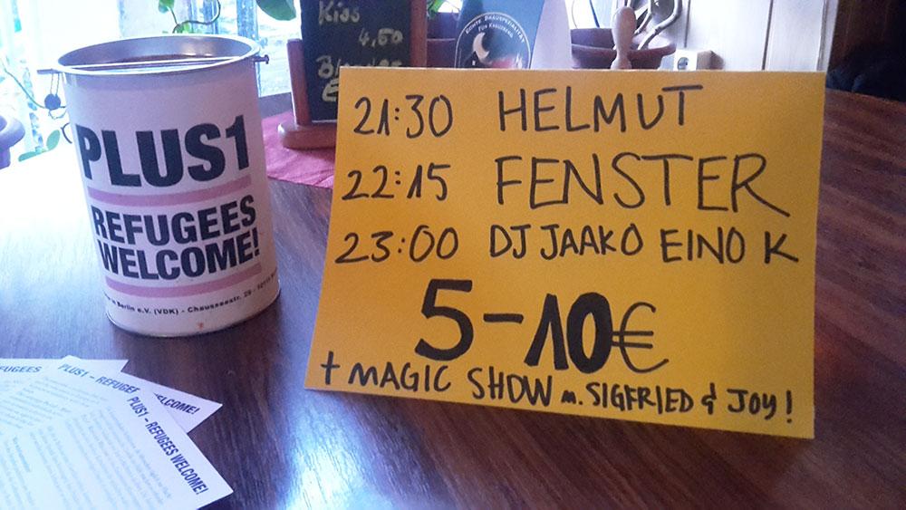 Helmut / Fenster / Dj Jaako - quite a lineup