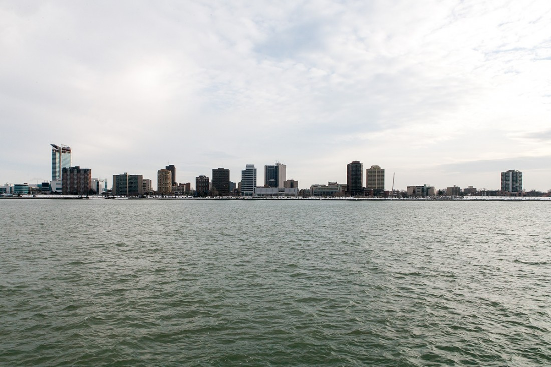the skyline of Detroit